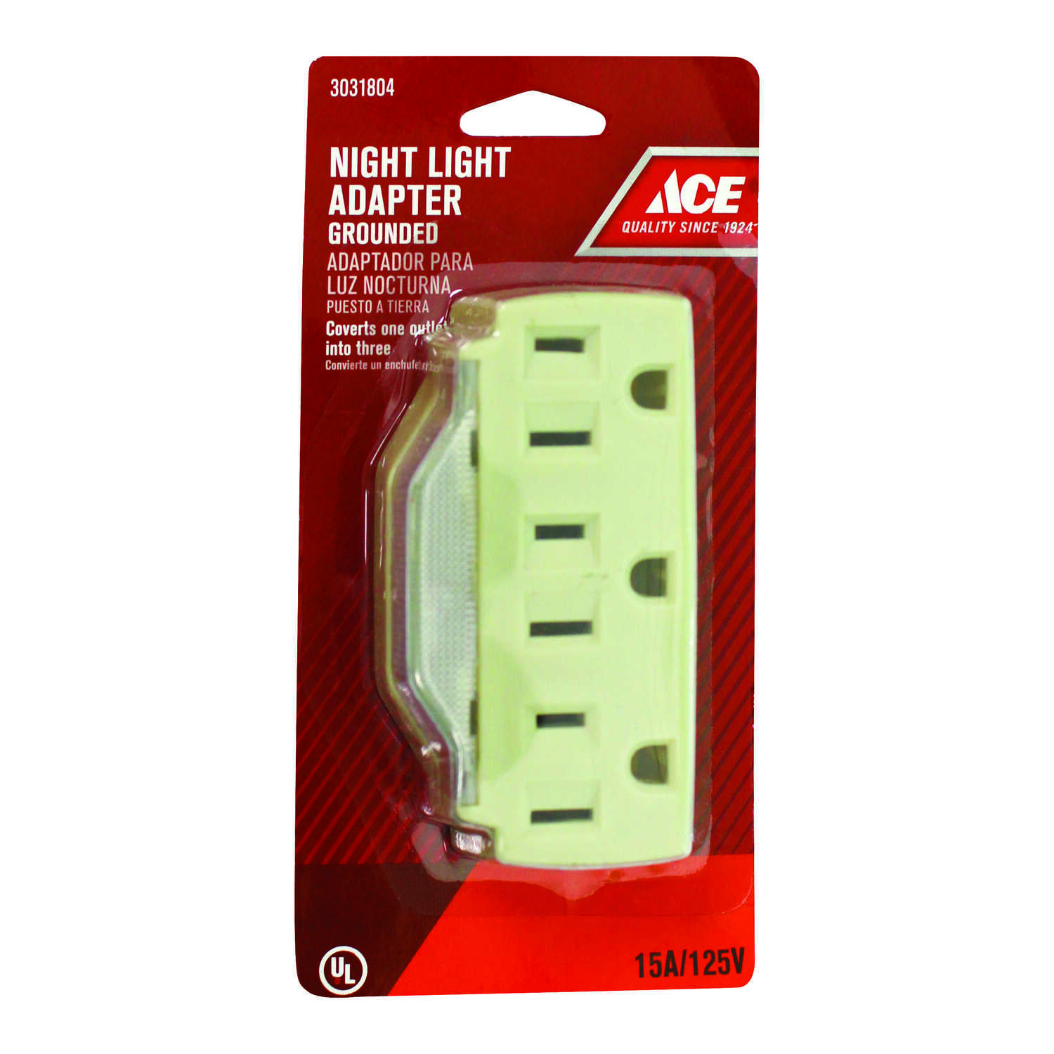 Ace  Grounded  3 outlets Adapter w/Light  1 pk
