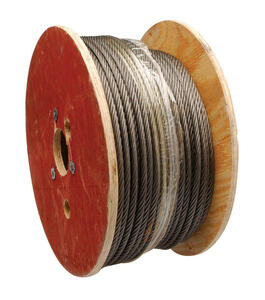 Campbell Chain  Rust Prohibiting Oil  Fiber Core Steel  1/2 in. Dia. x 250 ft. L Aircraft Cable