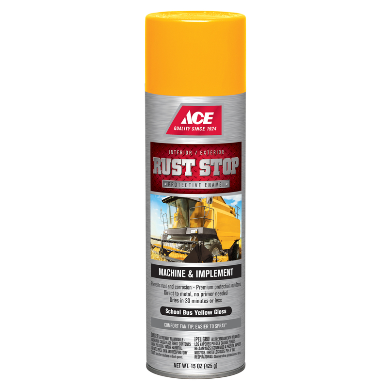 Ace  Rust Stop  Gloss  School Bus Yellow  15 oz. Machine And Implement Enamel Spray Paint