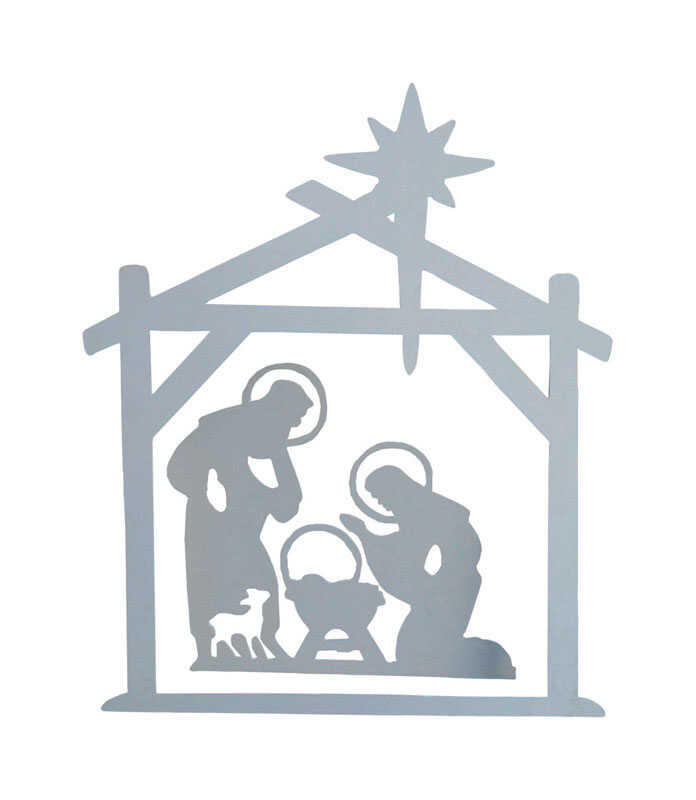 DHI  Nativity  Silhouette  White  1 pk Wood
