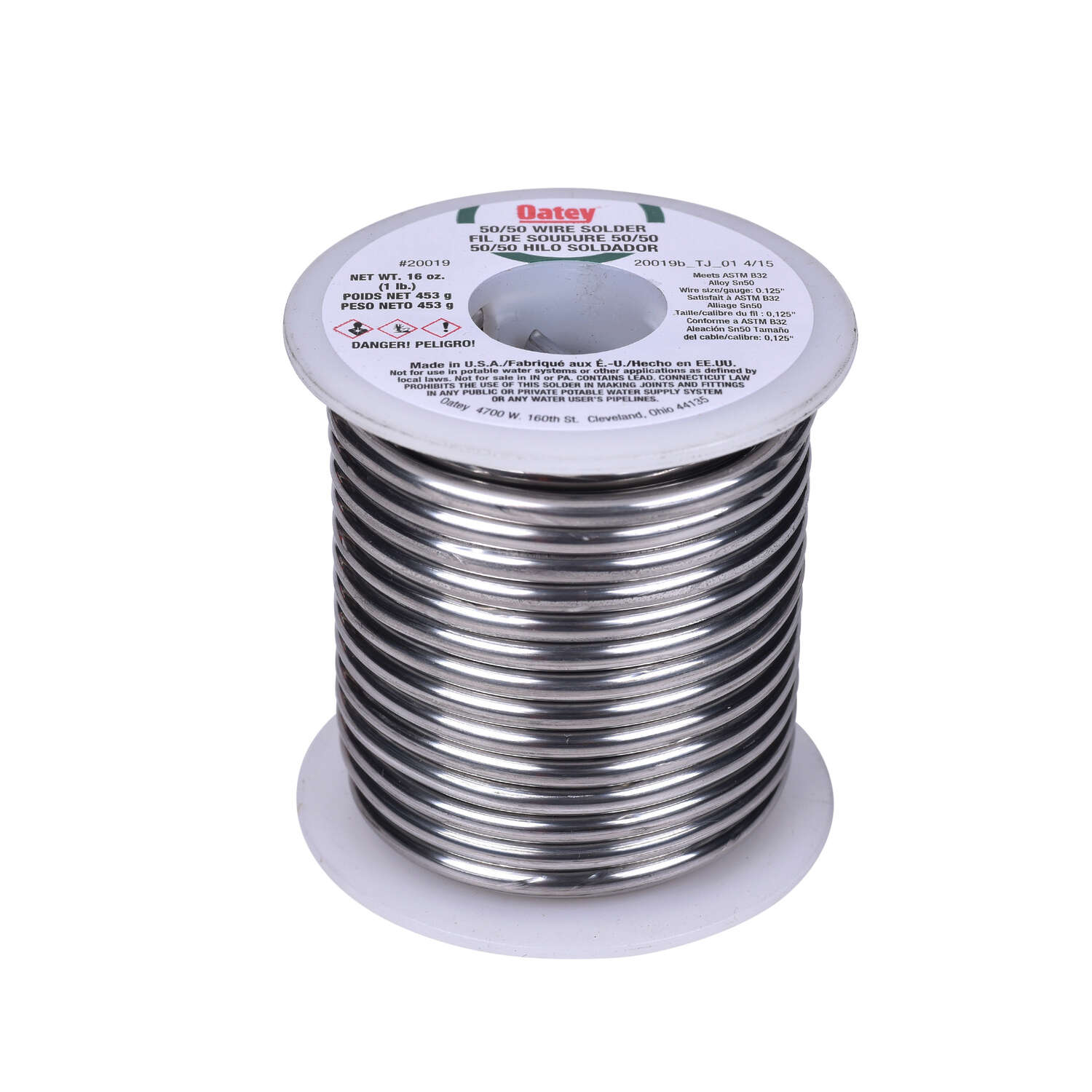 Oatey  1 lb.  x 0.125 in. Dia. Solid Wire Solder  50/50  Tin/Lead