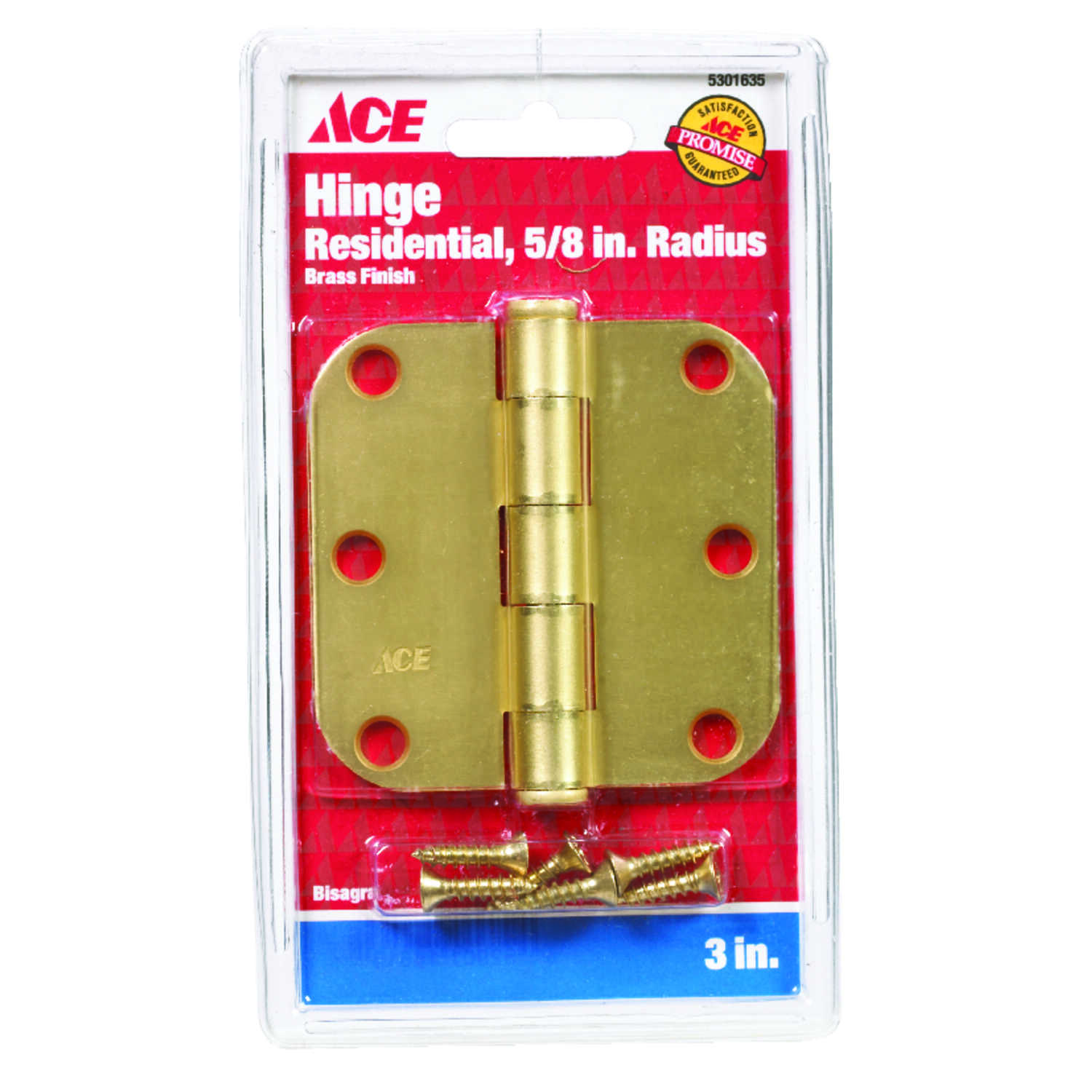 Ace  3 in. L Satin Brass  Residential Door Hinge  1 pk