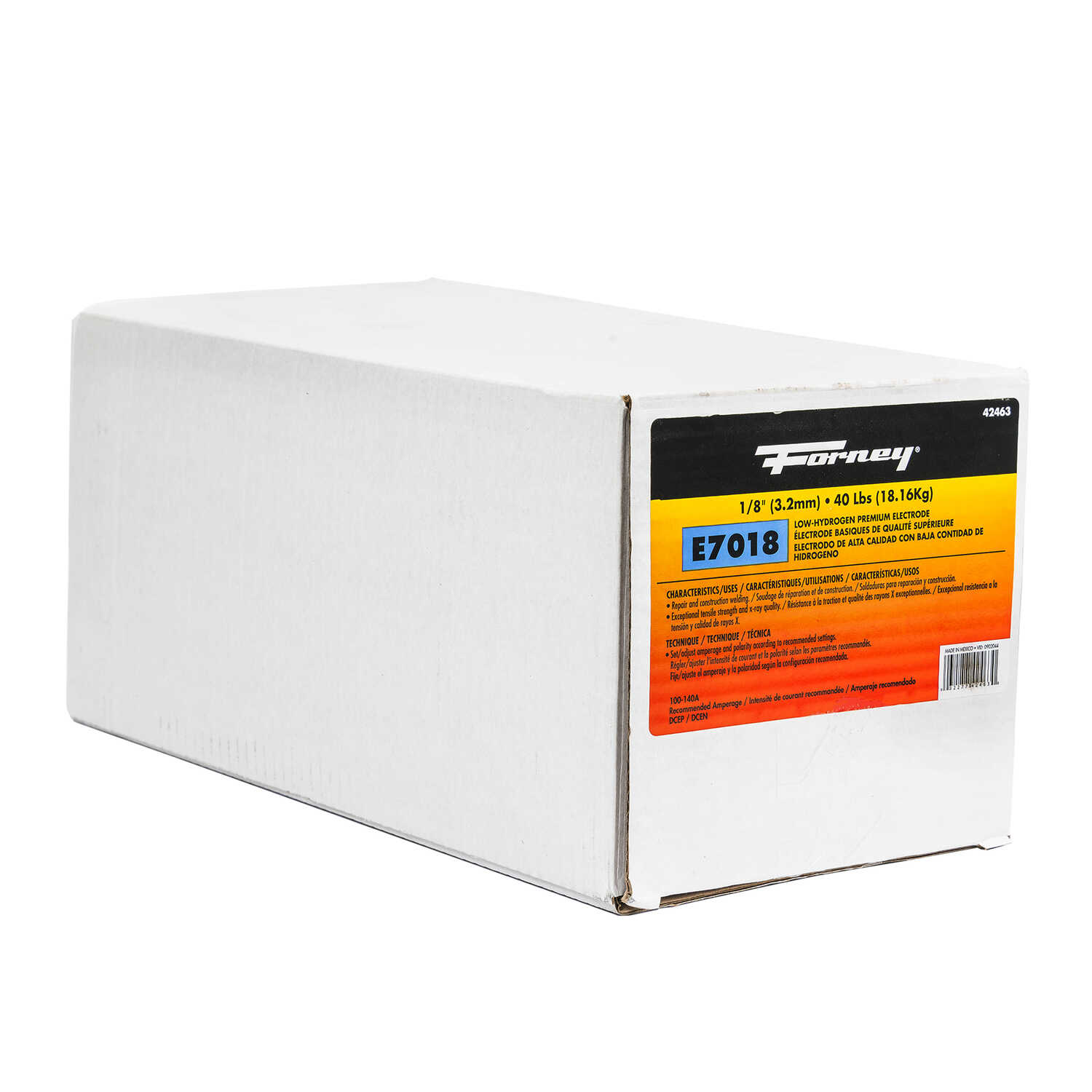 Forney  1/8 in. Dia. x 15 in. L E7018  Mild Steel  Low-Hydrogen Welding Electrodes  84000 psi 40 lb.