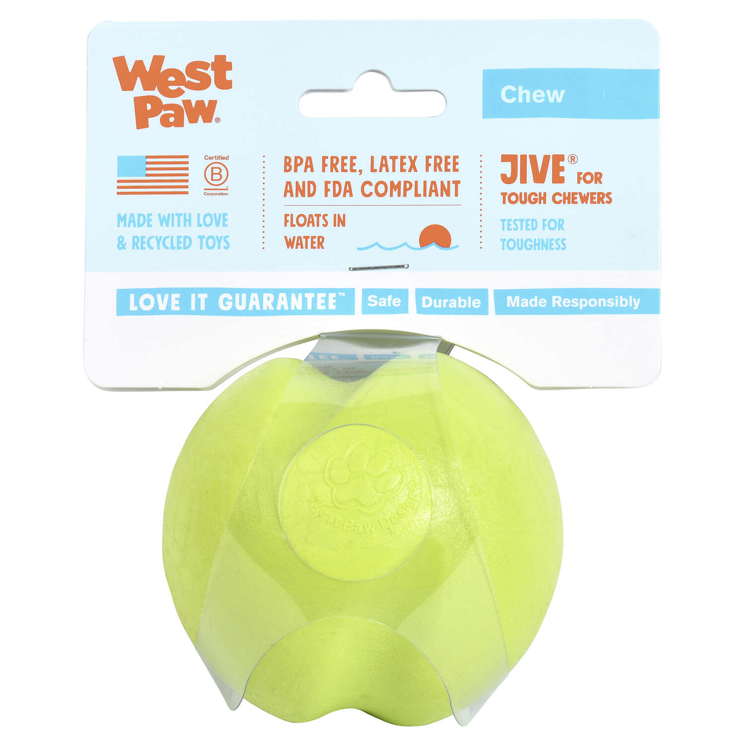 West Paw  Zogoflex  Green  Jive Ball  Ball Dog Toy  Medium  Synthetic Rubber