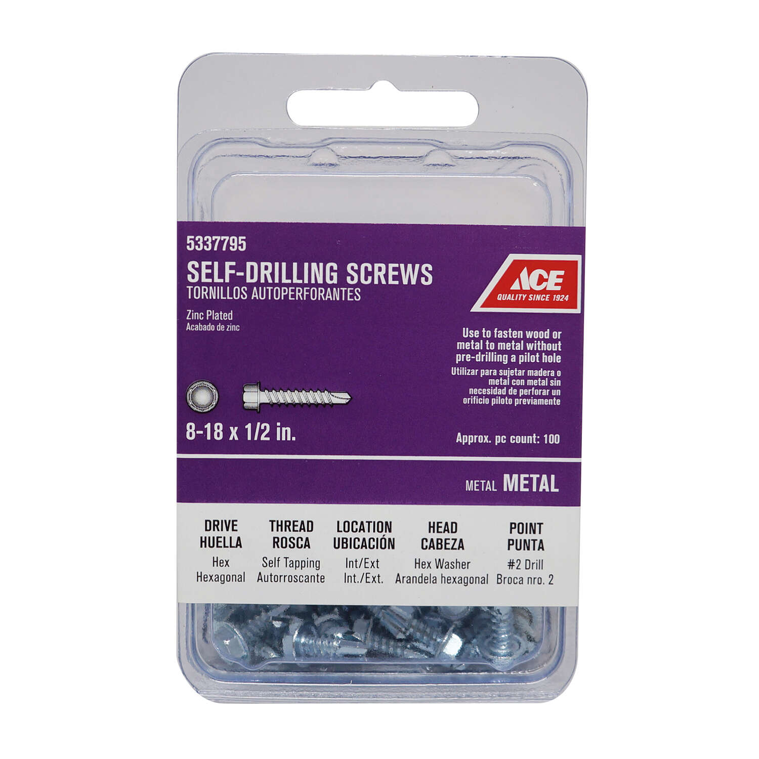 Ace No. 8 x 1/2 in. L Hex Washer Head Zinc-Plated Steel Self- Drilling Screws 1 lb.