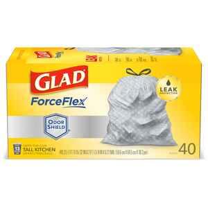Glad  ForceFlex  13 gal. Kitchen Trash Bags  Drawstring  40 pk