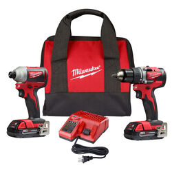 Milwaukee M18 18 volt Cordless Brushless 2 tool Compact Drill and Impact Driver Kit