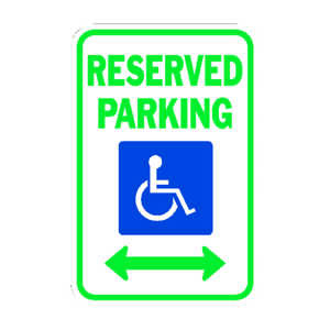 Hy-Ko  English  Handicapped Reserved Parking  18 in. H x 12 in. W Aluminum  Sign