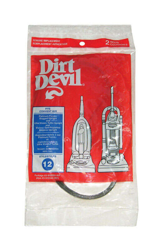Dirt Devil Platinum Force Royal Vacuum Belts Style 12 Fits Dirt Devil Platinum Force Bagged 2 / Pack