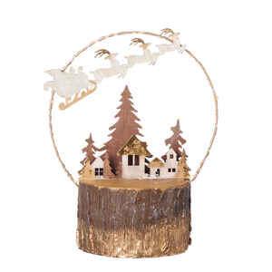 Roman  Santa Flying Over Village  Christmas Decoration  Brown  MDF  1 pk