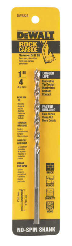 DeWalt  1/4 in. Dia. x 6 in. L Carbide Tipped  Percussion Drill Bit  3-Flat Shank  1 pc.