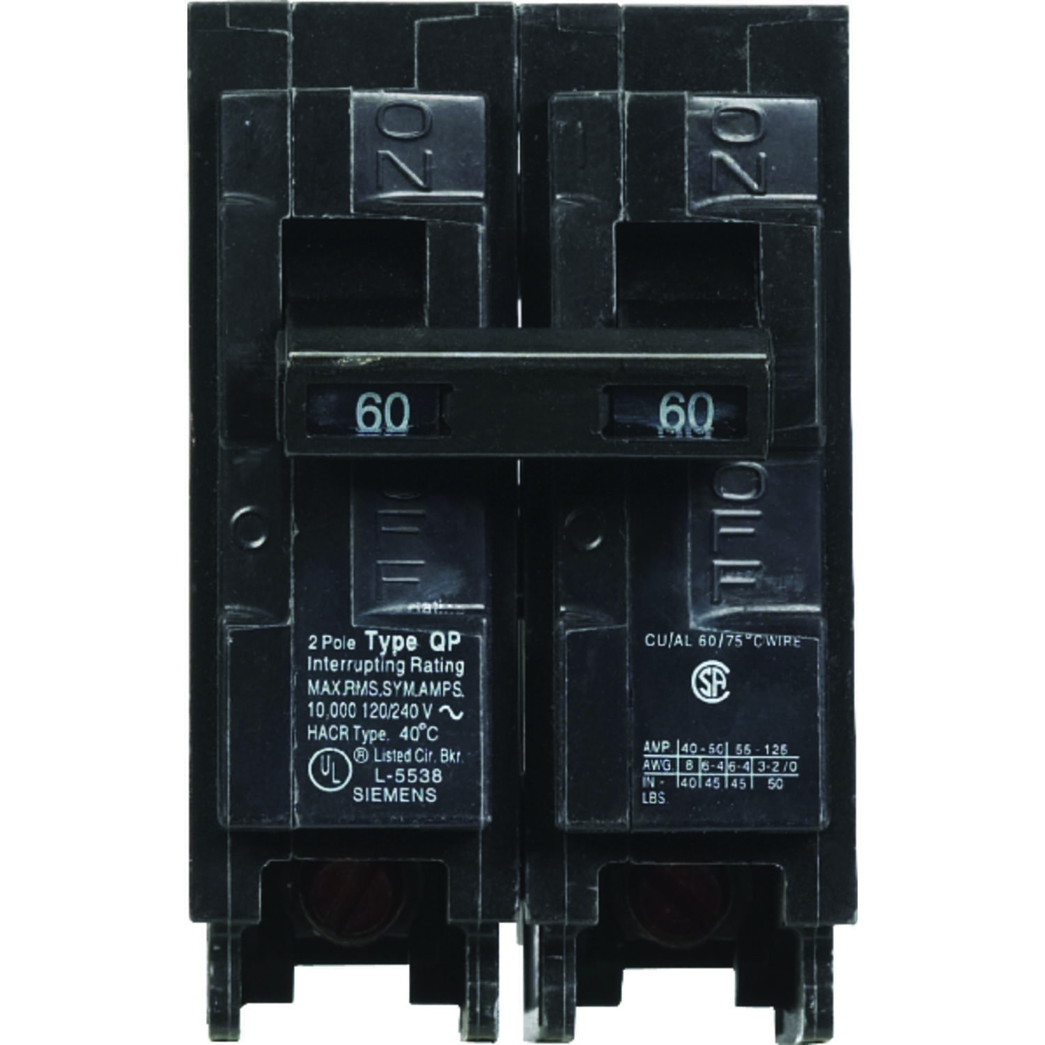 Siemens  60 amps Double Pole  2  Circuit Breaker