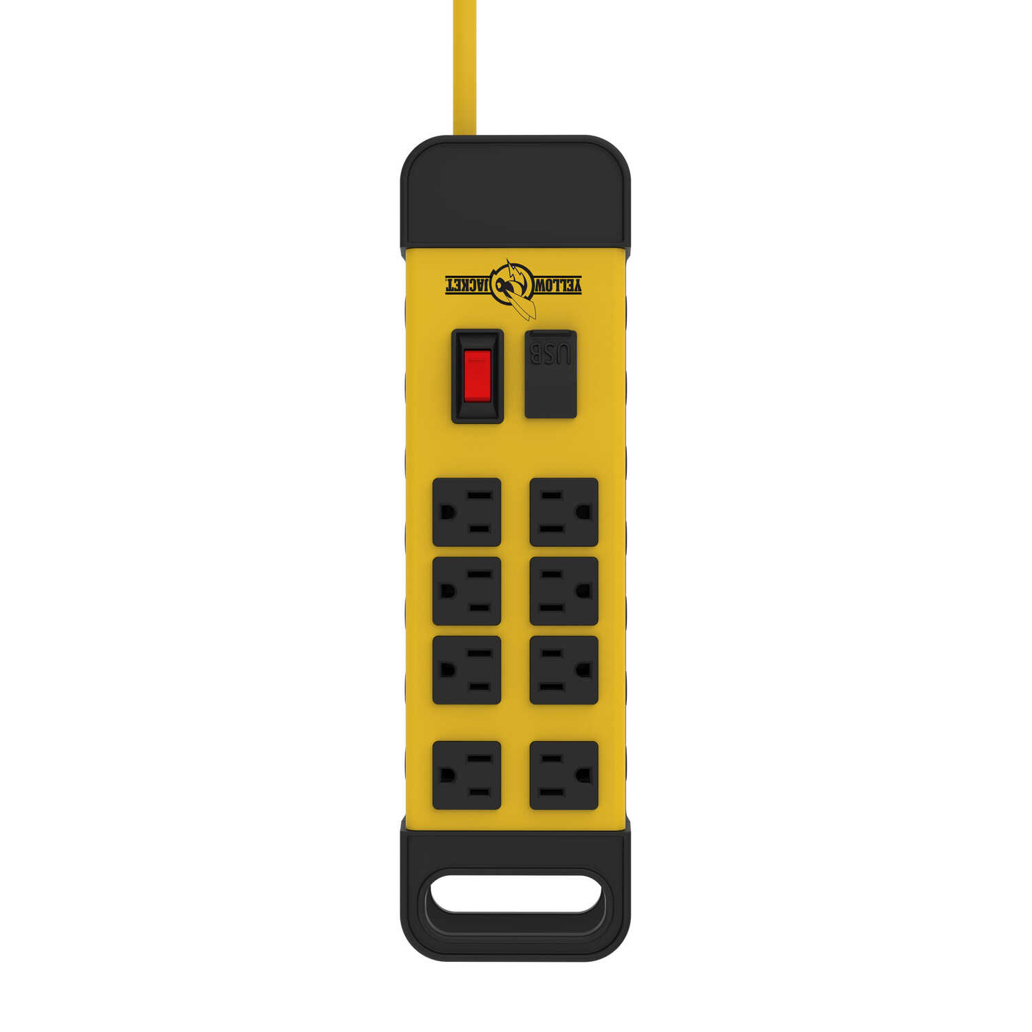 Woods  Yellow Jacket  6 ft. L 8 outlets Power Block  Yellow