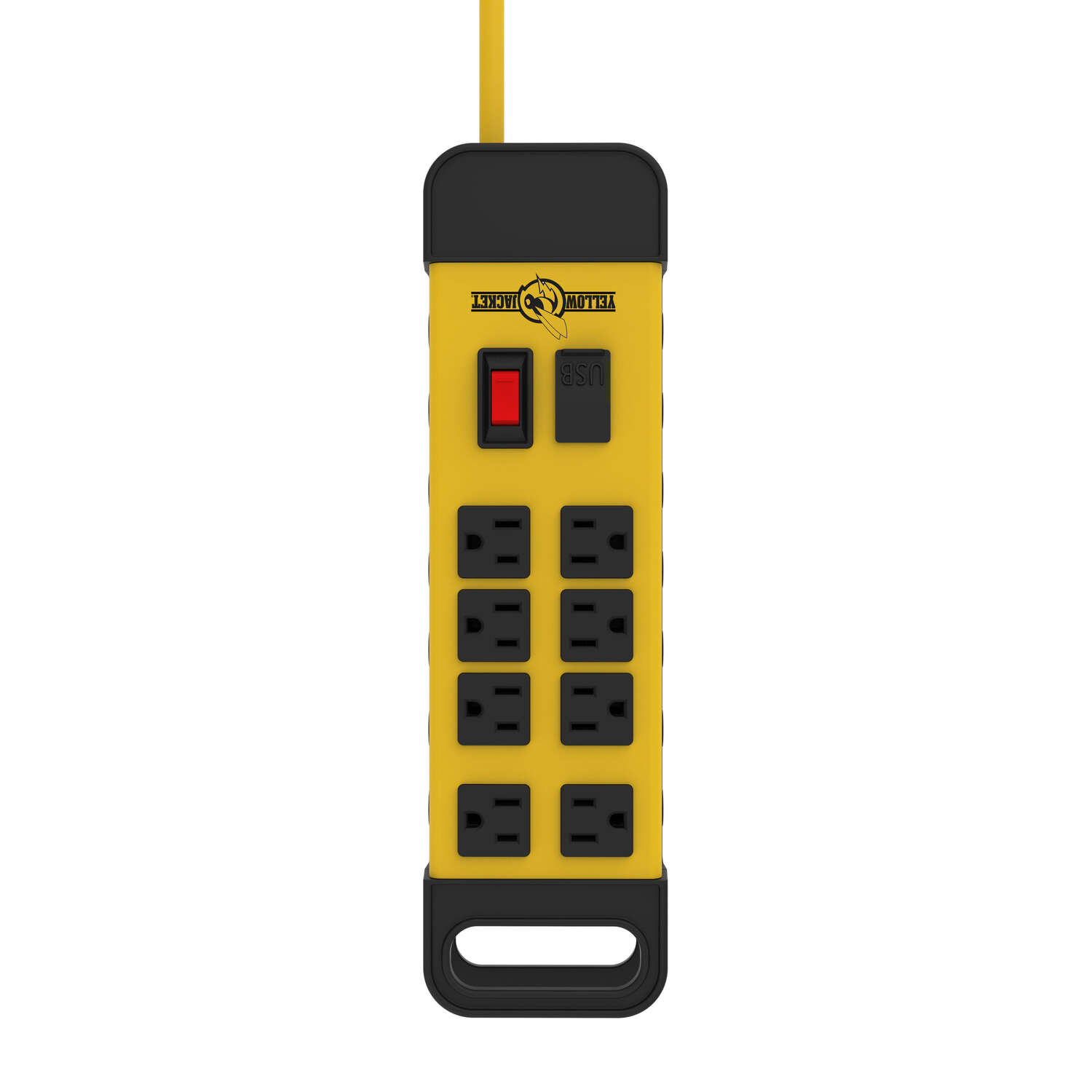 Woods  Yellow Jacket  6 ft. L 8 outlets Power Block  Black/Yellow