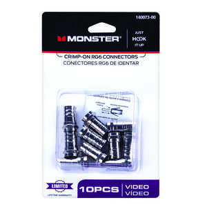 Monster Cable  Crimp-On  RG6  Coaxial Connectors  10 pk