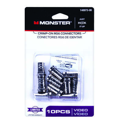 Monster  Just Hook It Up  Crimp-On  RG6  Coaxial Connector  10 pc.