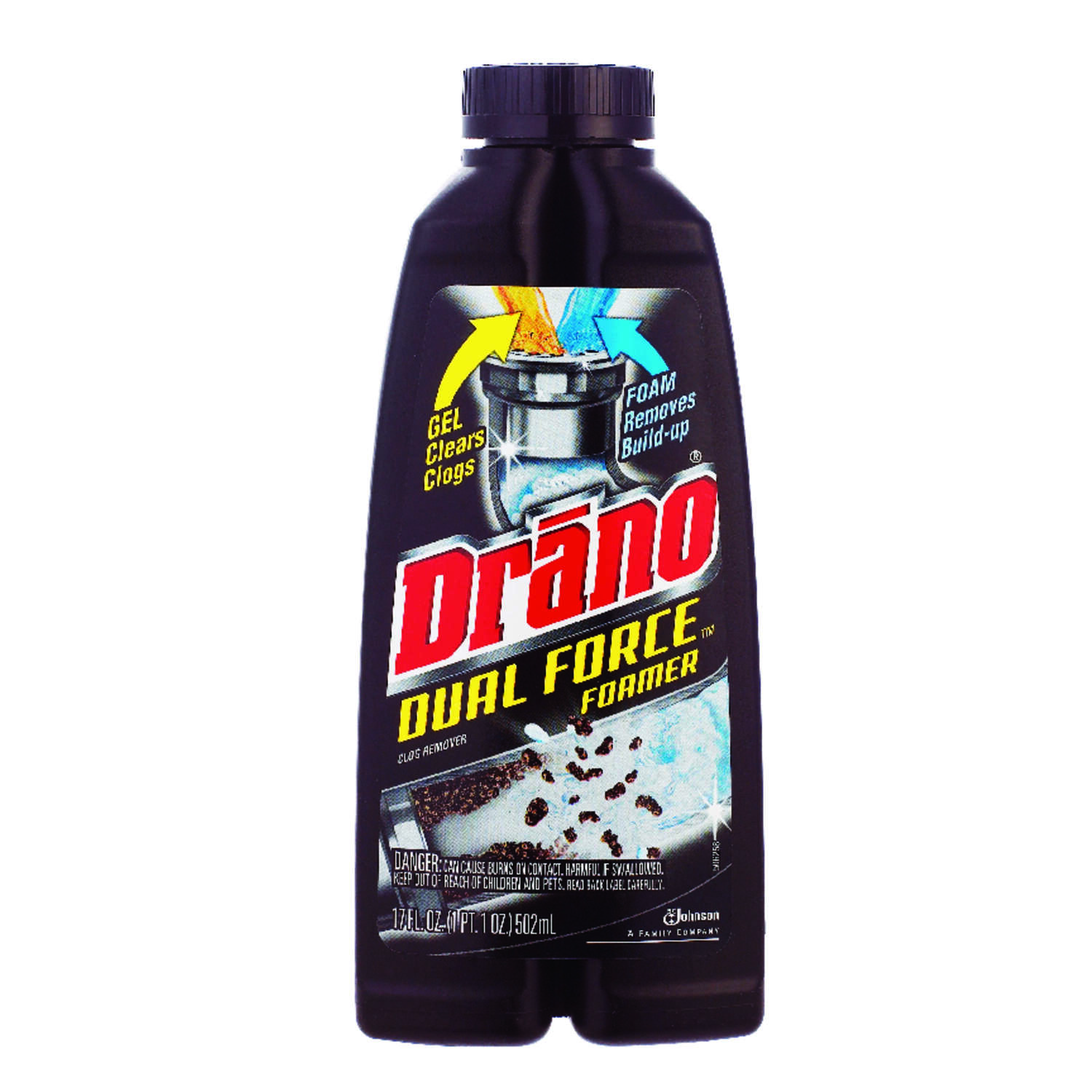 Drano  Dual Force  Liquid  Clog Remover  17 oz.
