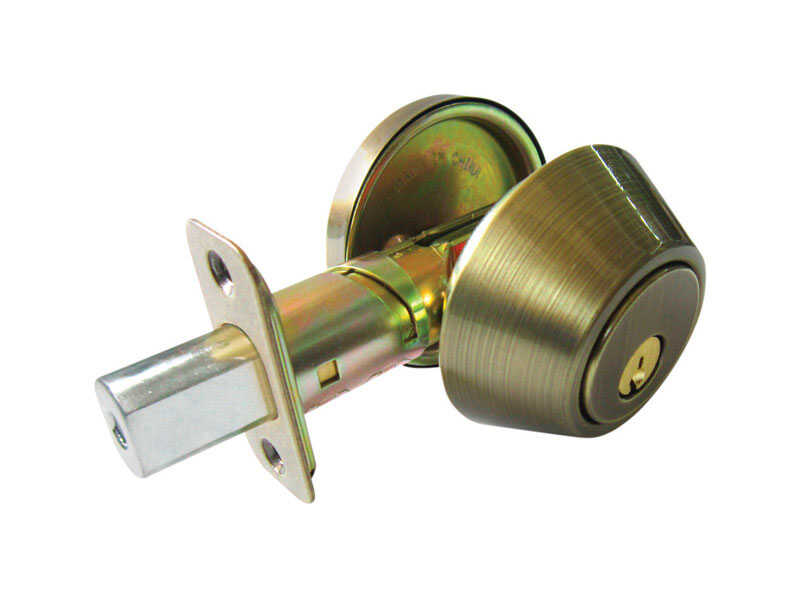Faultless  Antique Brass  Metal  For Exterior Doors where Keyed Entry and Security is Needed ANSI Gr