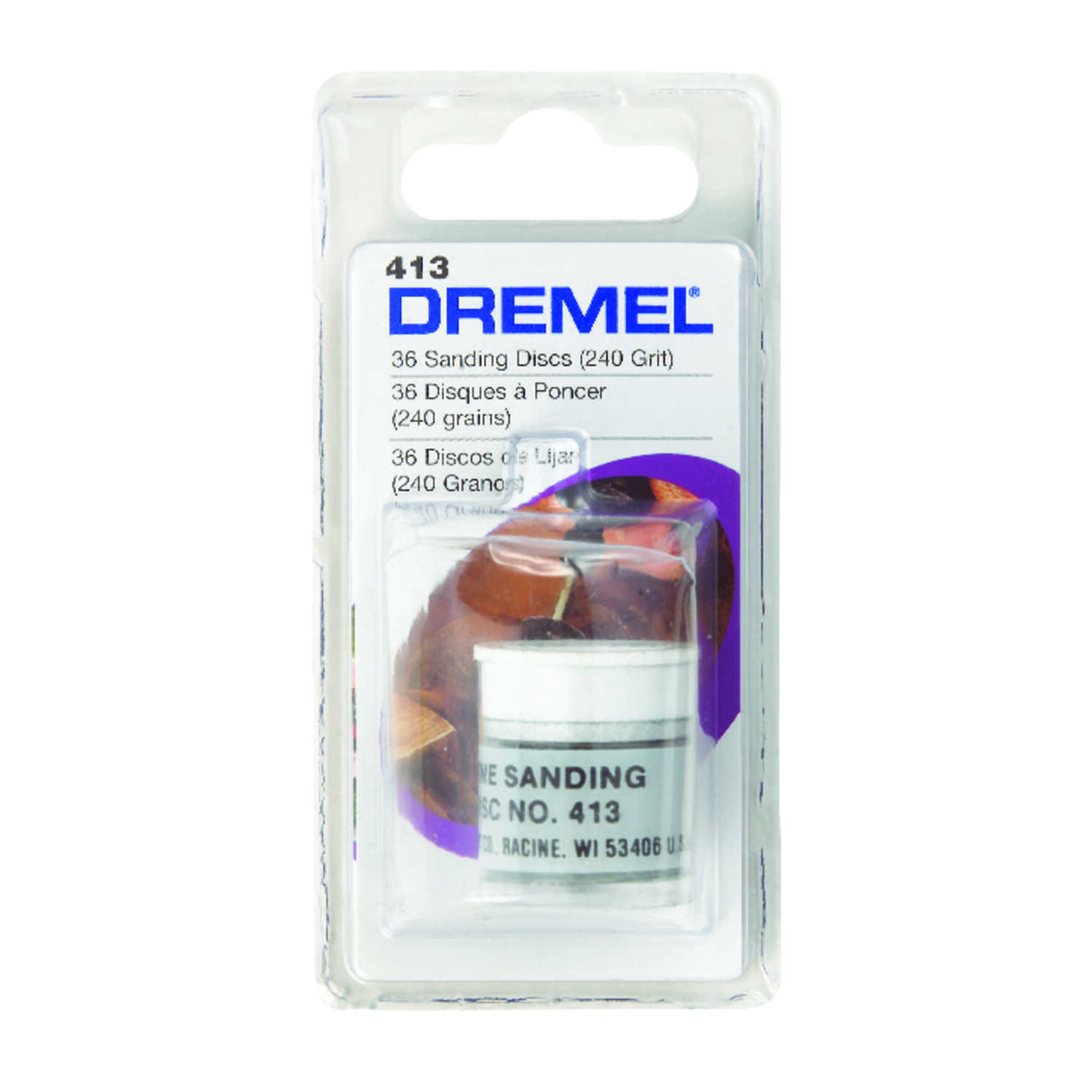 Dremel  Aluminum Oxide  Center Mount  Sanding Disc  36 pk 240 Grit Fine  1 in.