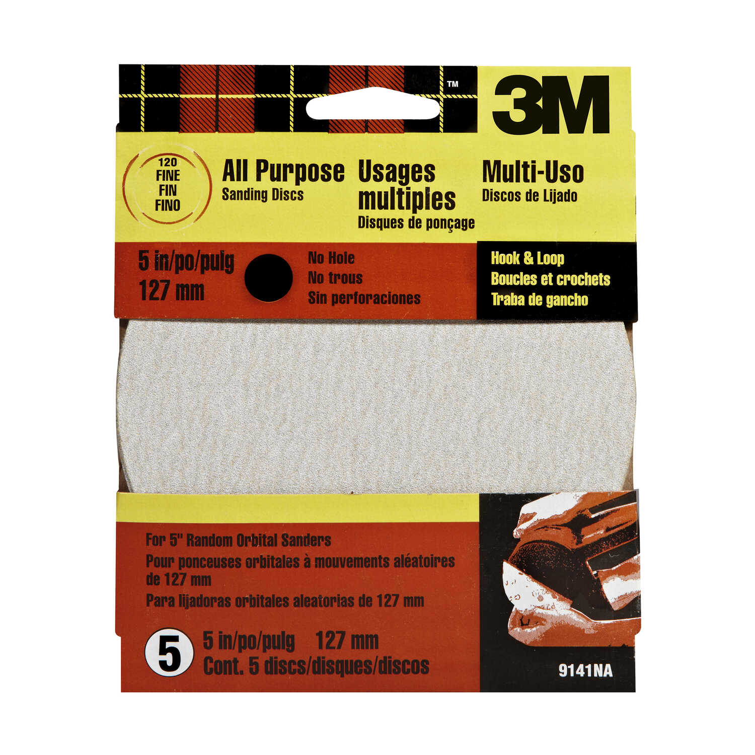 3M  Aluminum Oxide  Hook and Loop  Sanding Disc  Fine  5 pk 120 Grit 5 in.
