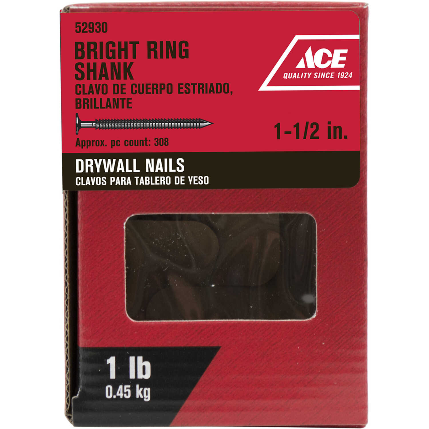 Ace  1-1/2 in. L Drywall  Bright  Nail  Annular Ring Shank  Flat  1 lb.
