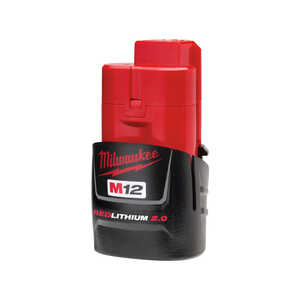 Milwaukee  M12 2.0  RED LITHIUM 2.0  12 volt 2 Ah Lithium-Ion  Battery Pack  1 pc.
