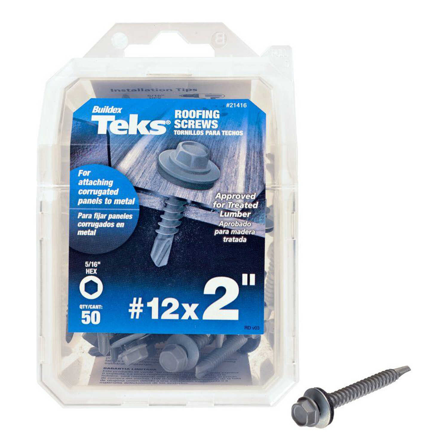 ITW  Teks  No. 12 Sizes  x 2 in. L Self-Tapping  Hex Washer Head Steel  Self- Drilling Screws  50 lb