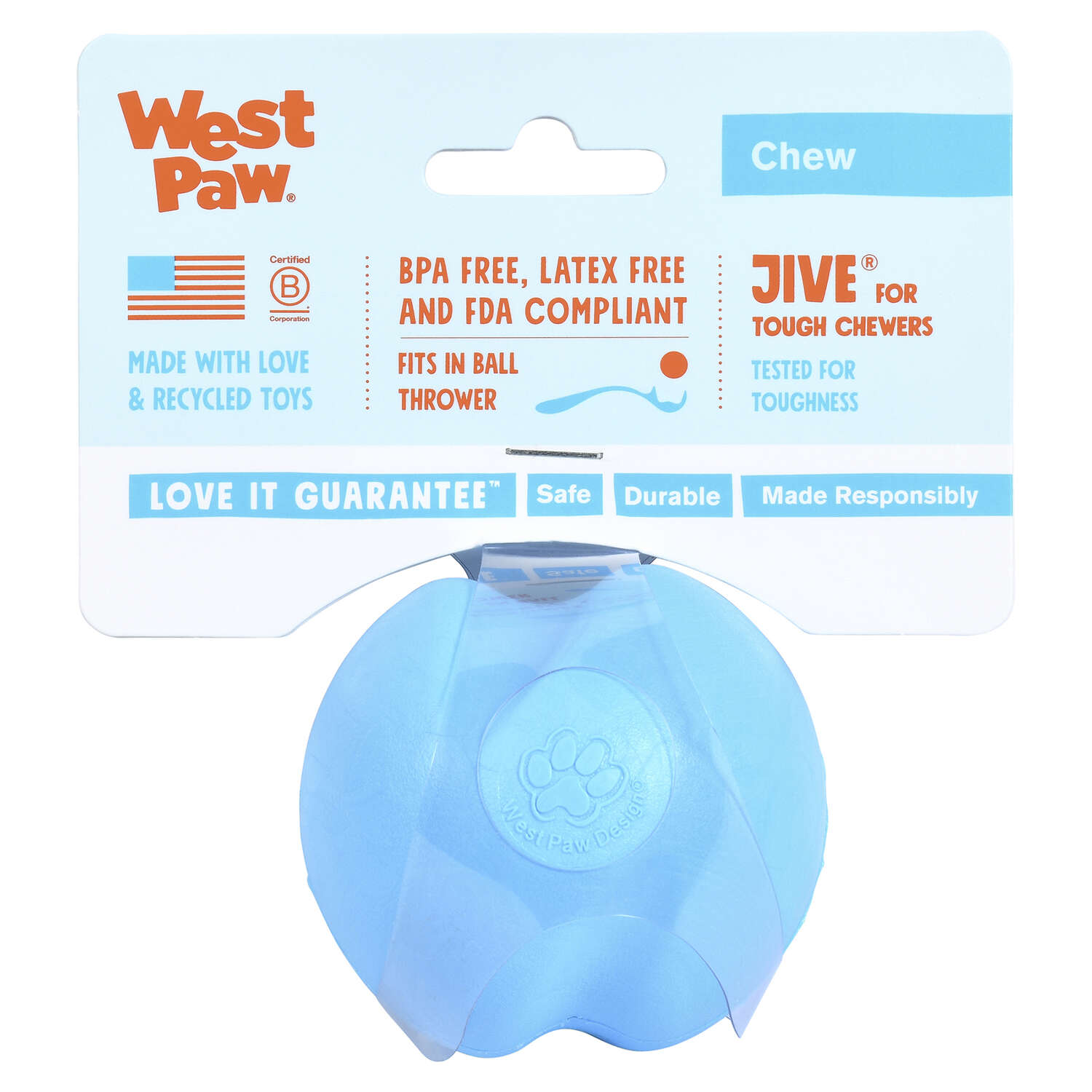 West Paw  Zogoflex  Blue  Jive Ball  Synthetic Rubber  Ball Dog Toy  Small