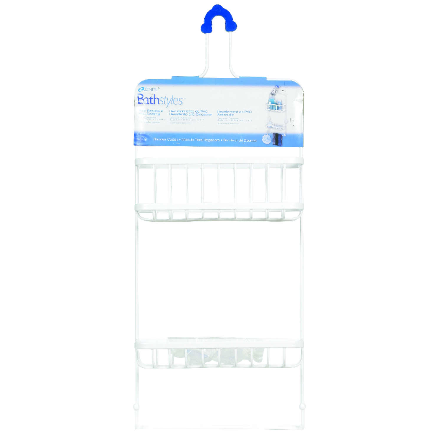 Zenith  Shower Caddy  4.1 in. L x 10.4 in. W x 26.1 in. H Chrome  White  Steel