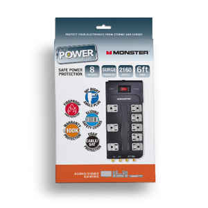 Monster  Just Power It Up  2160 J 6 ft. L 8 outlets Surge Protector