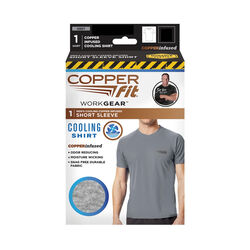 Copper Fit XL Short Sleeve Men's Crew Neck Gray Cooling Shirt