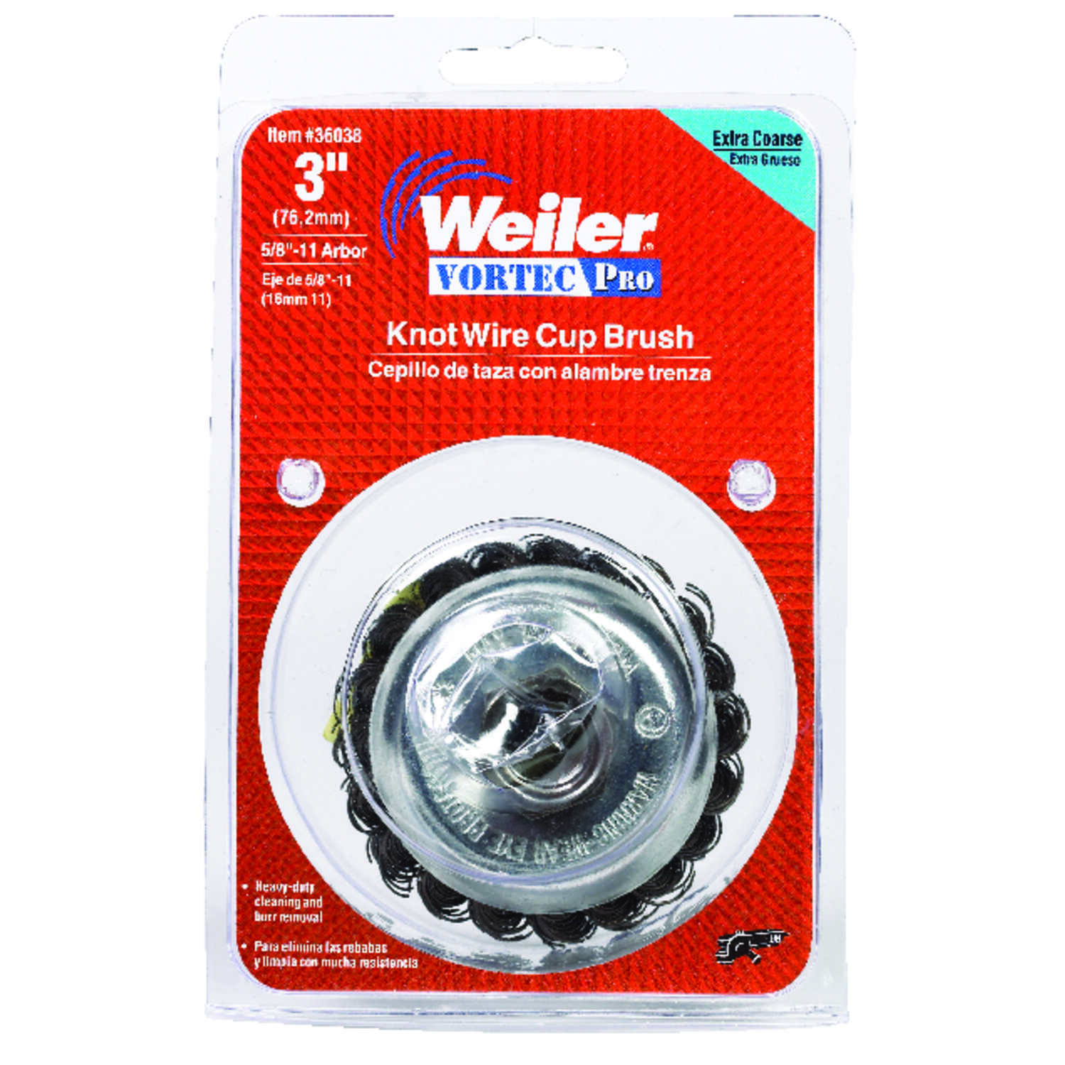 Weiler 3 in  Dia  x 5/8-11 Vortec Pro Steel Cup Brush 1 pc  Knotted