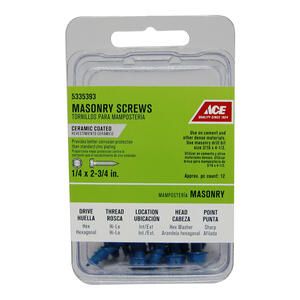 Ace  1/4 in.   x 2-3/4 in. L Slotted  Hex Washer Head Ceramic  Steel  Masonry Screws  12 pk