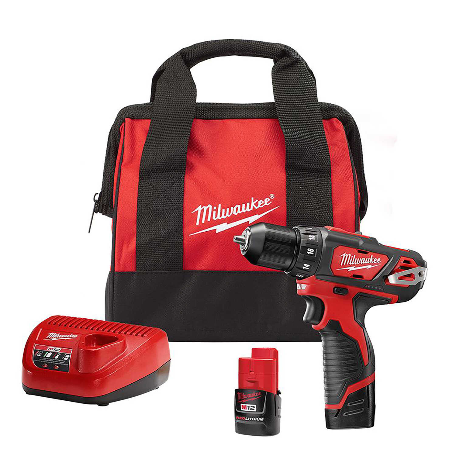 Milwaukee  M12  12 volt 3/8 in. Cordless Compact Drill/Driver  Kit 1500 rpm 2 speed