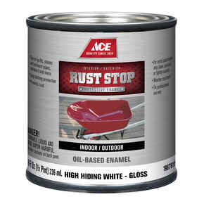 Ace  Rust Stop  Indoor and Outdoor  Gloss  White  Rust Prevention Paint  1/2 pt.