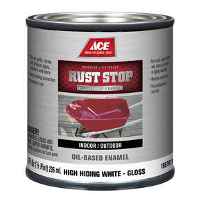 Ace  Rust Stop  Interior/Exterior  Indoor and Outdoor  White  1/2 pt. Rust Prevention Paint  Gloss