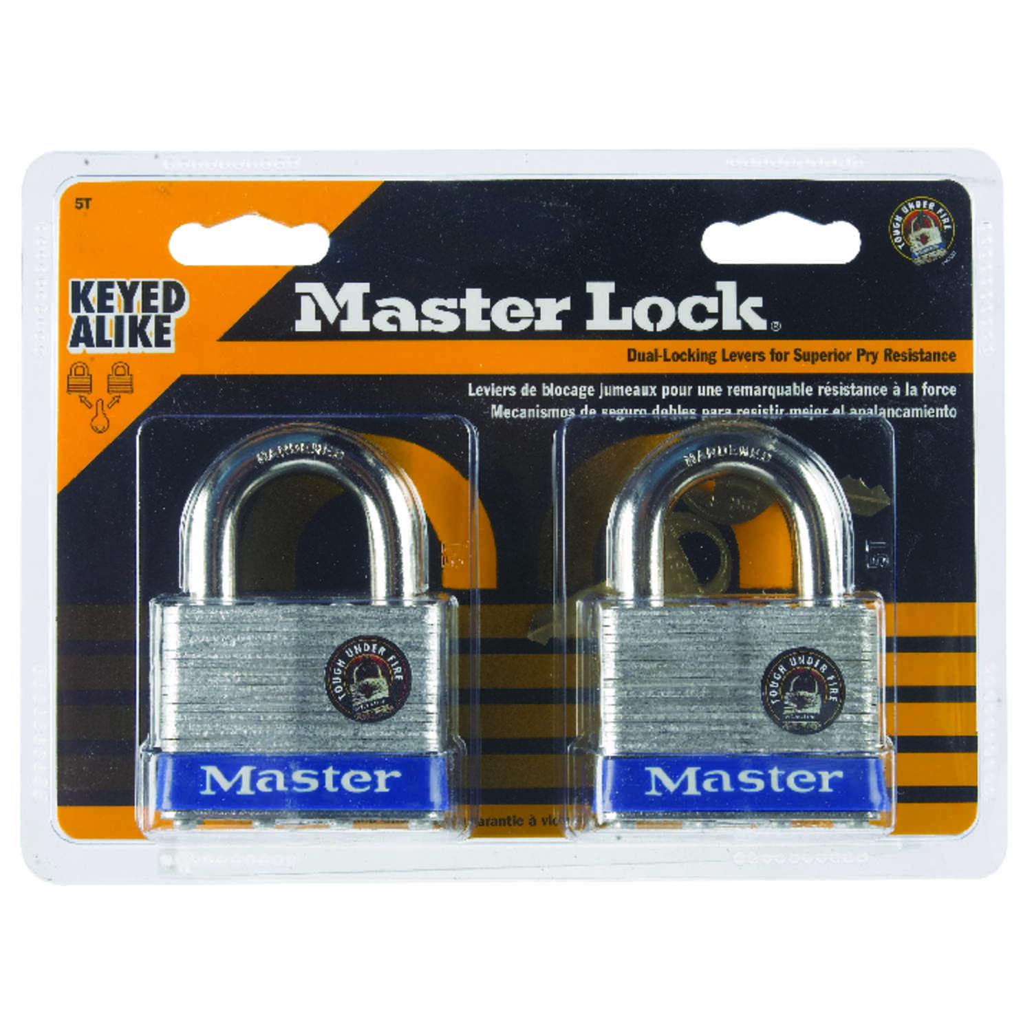 Master Lock  1-1/2 in. H x 7/8 in. W x 2 in. L Laminated Steel  4-Pin Cylinder  Padlock  2 pk Keyed