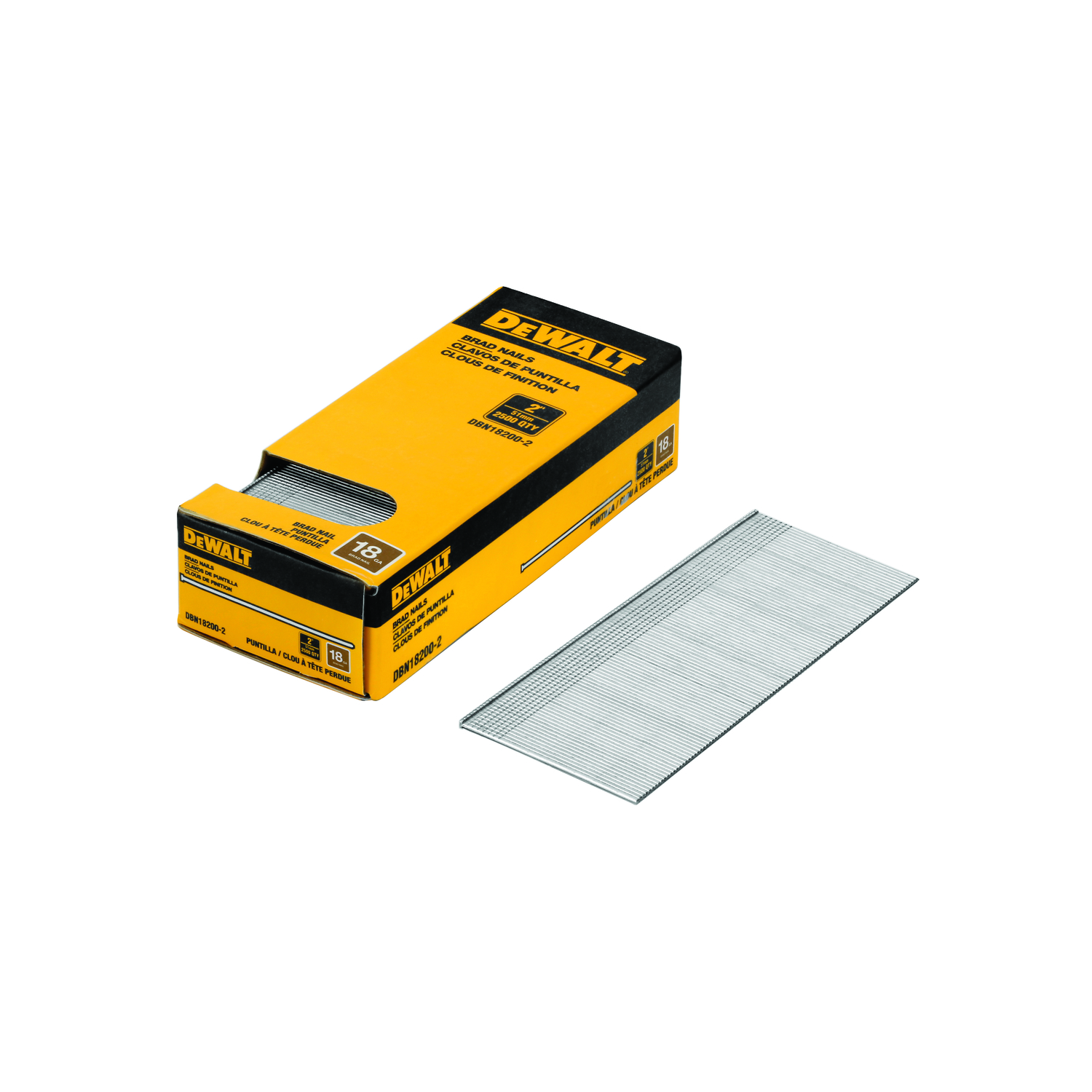 DeWalt 2 in. 18 Ga. Straight Strip Brad Nails Smooth Shank 2500 pk