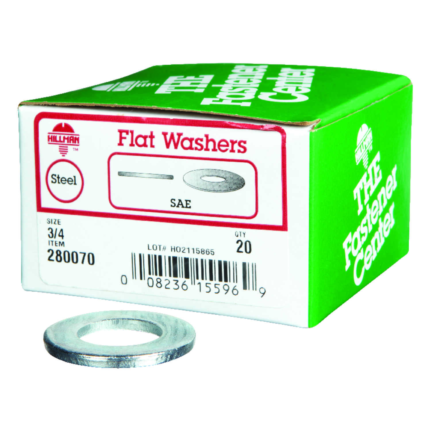 HILLMAN  Zinc-Plated  Stainless Steel  3/4 in. SAE Flat Washer  20 pk