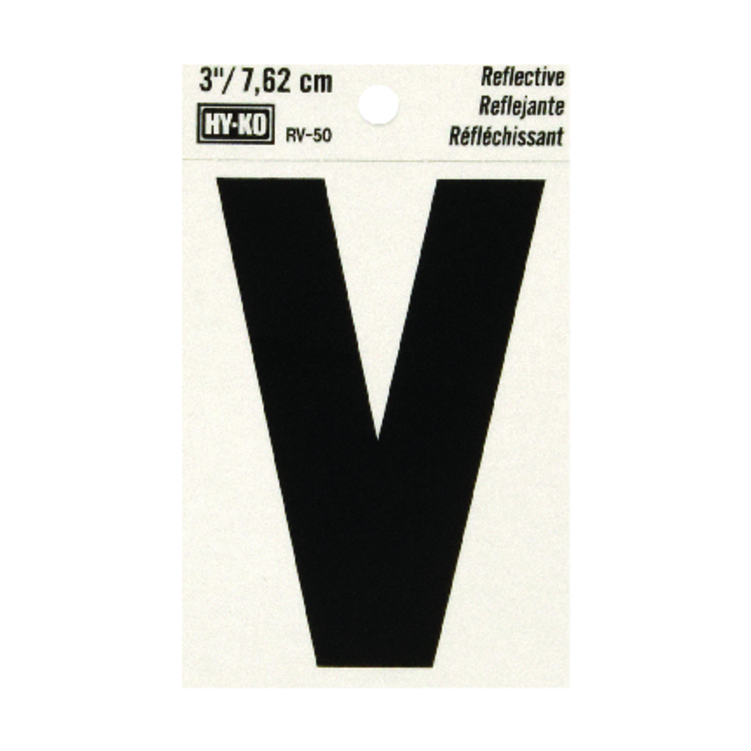 Hy-Ko  3 in. Vinyl  Black  V  Letter  Self-Adhesive  Reflective