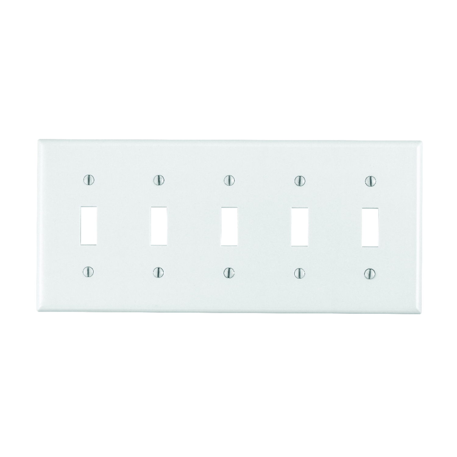 Leviton  White  5 gang Plastic  Toggle  1 pk Wall Plate