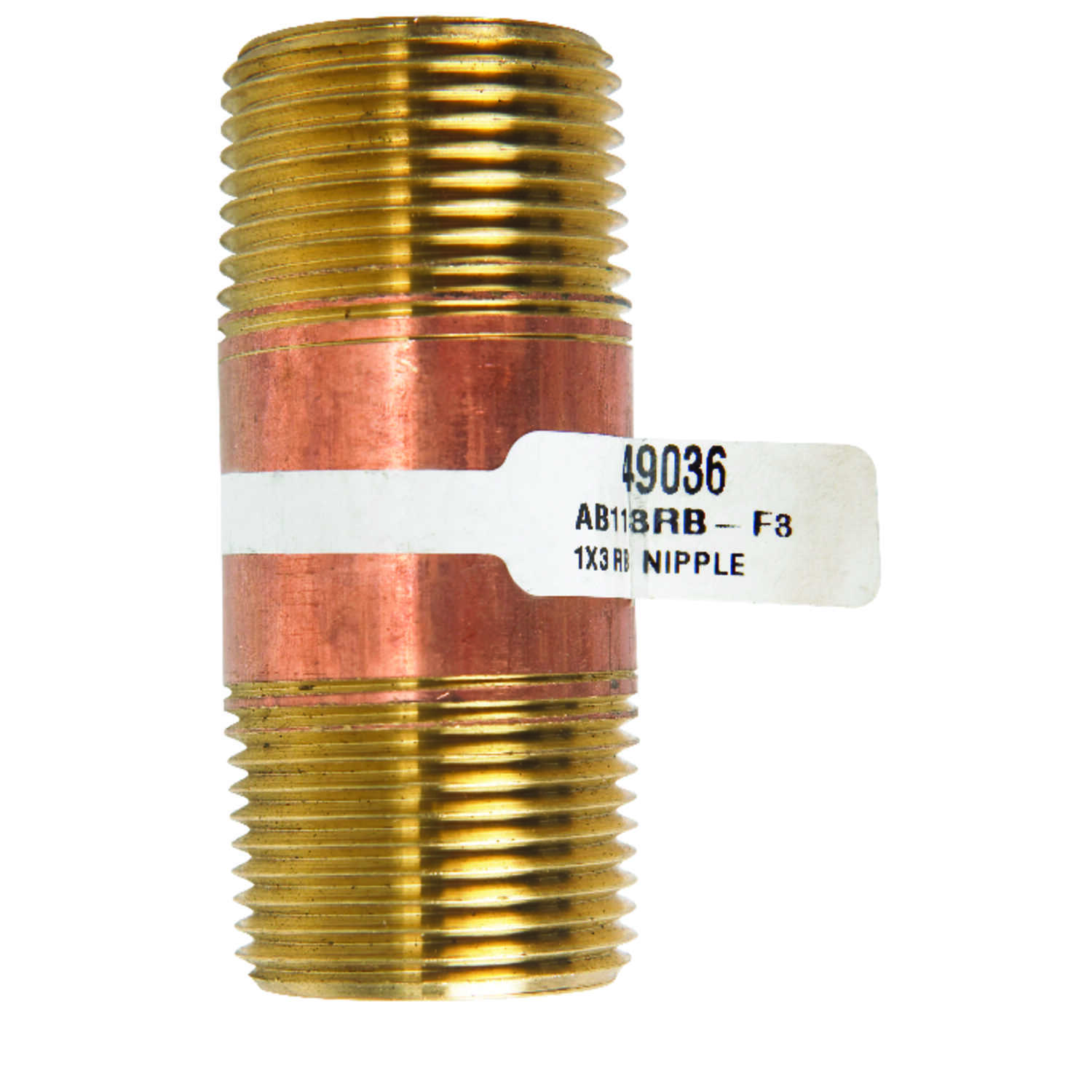 JMF 3 in.  1  MPT To MPT  1 in. Dia. Brass  Pipe Nipple