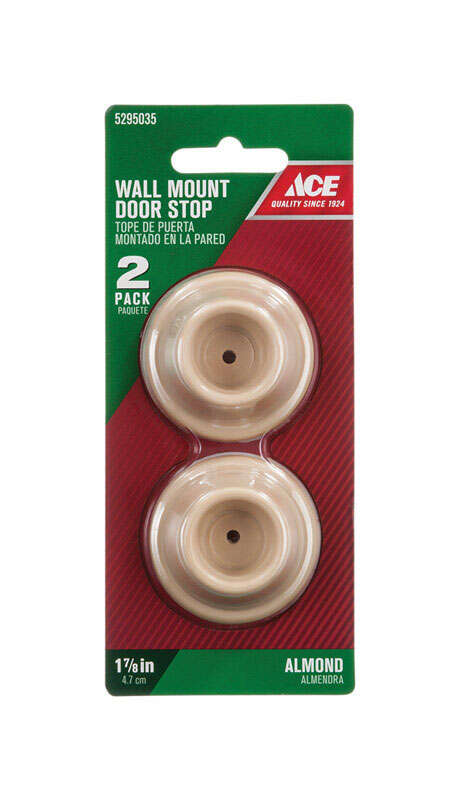 Ace  1 in. H x 1-7/8 in. W Plastic  Almond  Mounts to door and wall  Wall Door Stop
