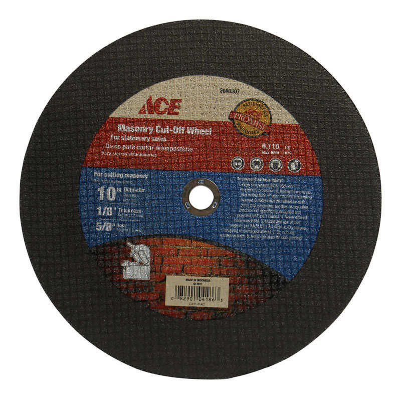 Ace  0.125 in. thick  x 5/8 in.  Aluminum Oxide  10 in. Masonry Cut-Off Blade  1