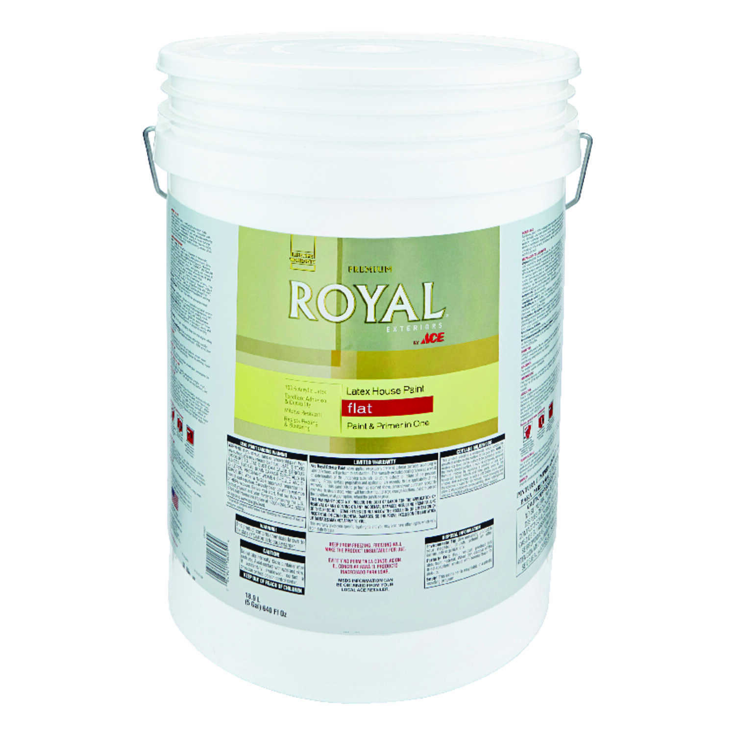 Ace  Royal  Flat  White  Acrylic Latex  House Paint & Primer  5 gal.