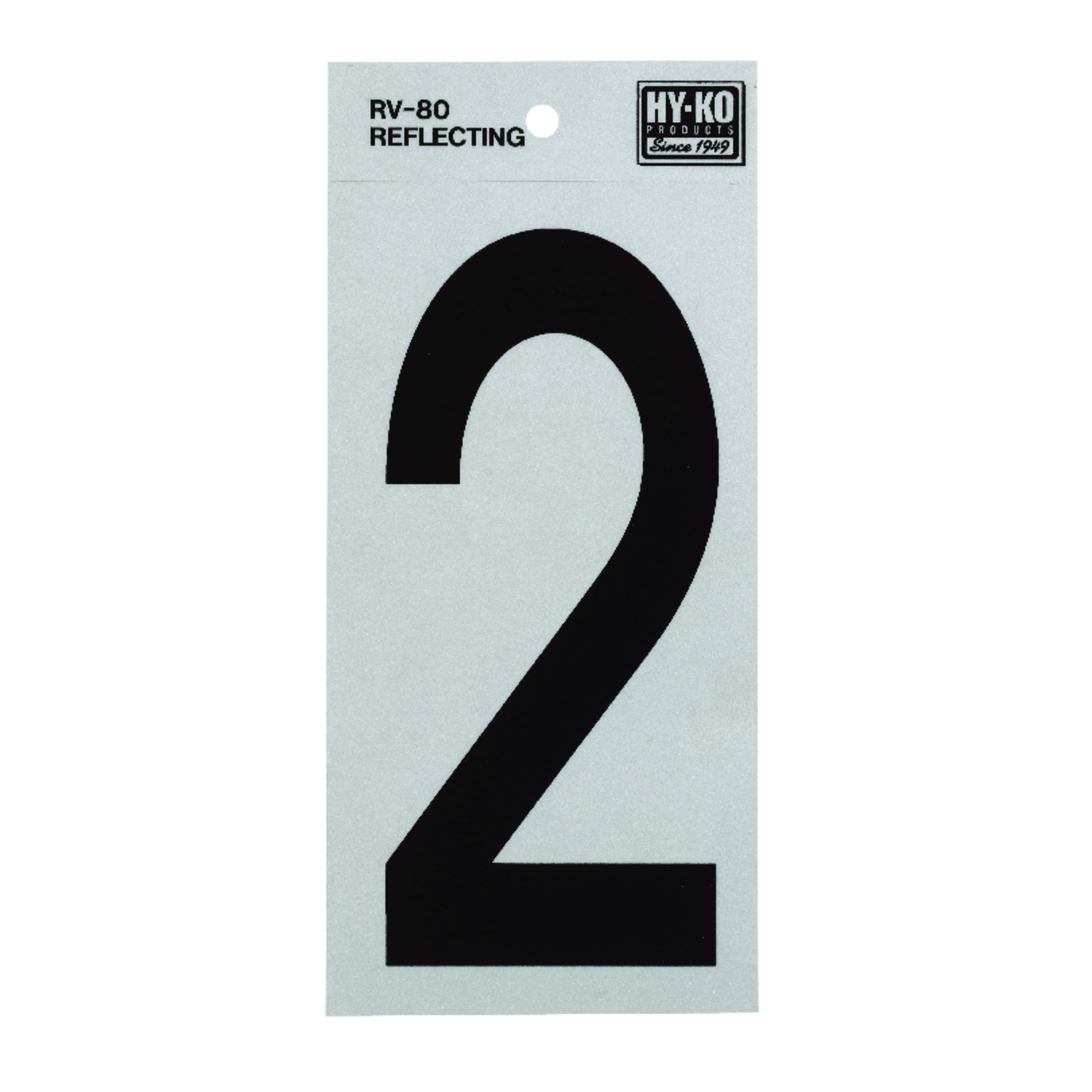Hy-Ko  6 in. Reflective 2  Number  Self-Adhesive  Vinyl  Black