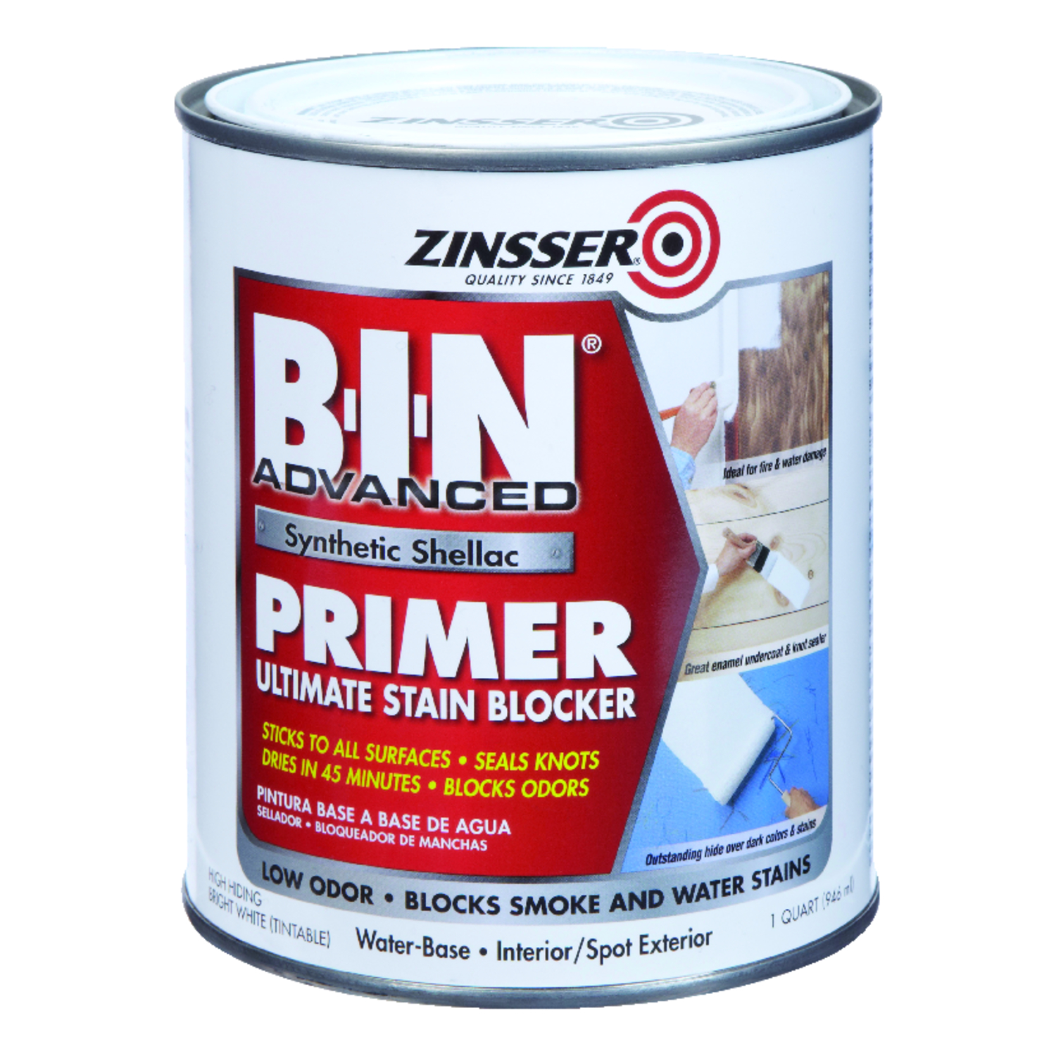 Zinsser  BIN Advanced  White  Primer and Sealer  For All Surfaces 1 qt.