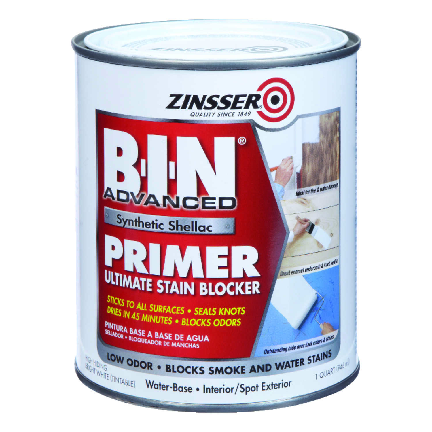 Zinsser Bin Advanced White Primer And Sealer For All Surfaces 1 Qt