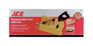 Ace  12 in. L x 4 in. W High Impact Polypropylene  Clamping Mitre Box with Saw  Yellow  1 pc.