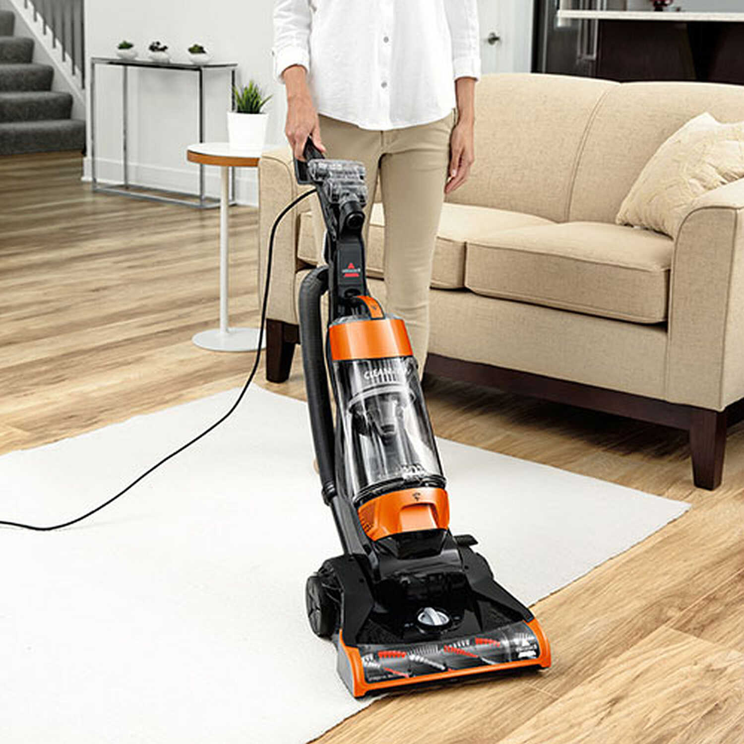Bissell  CleanView  Bagless  Corded  Upright Vacuum  10 amps Orange  Multi-level